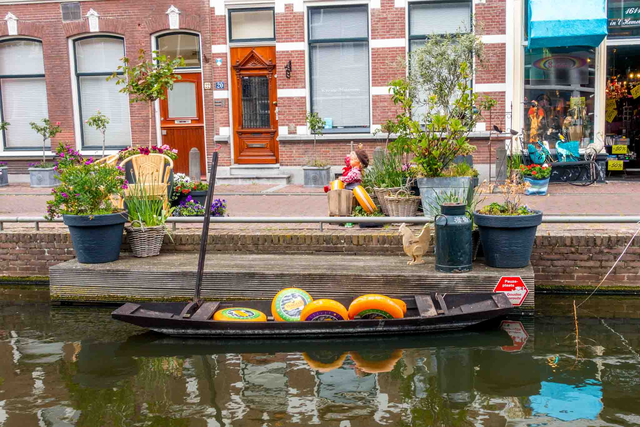 Cheese seems to be everywhere in Gouda Netherlands, including in boats in the canals