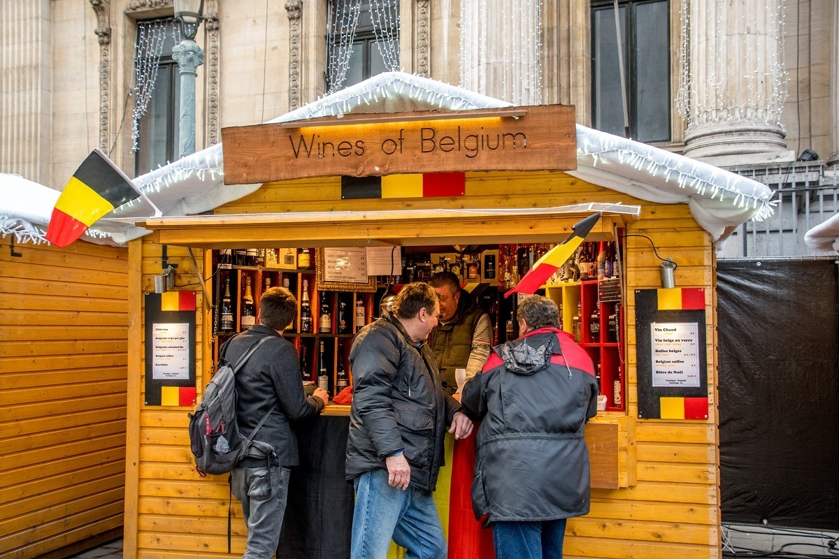 Christmas market stall selling wines of Belgium