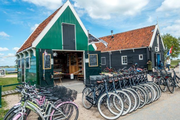 Bicycles lined up for rental at Zaanse Schans
