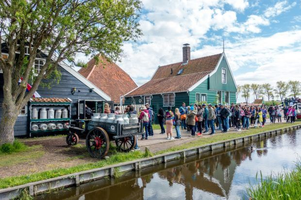 Crowds lined up at the cheese shop at Zaanse Schans Holland