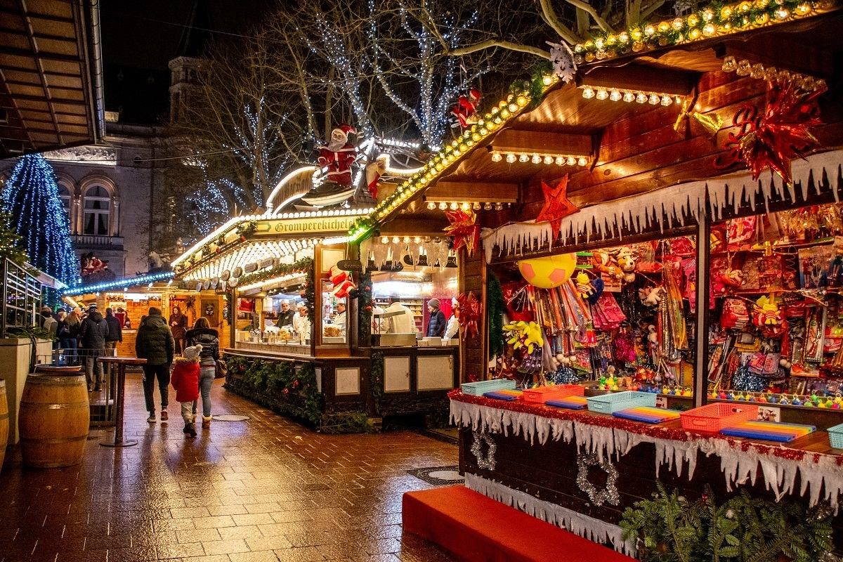 Wooden stalls selling gifts and food in Place d'Armes in Luxembourg City