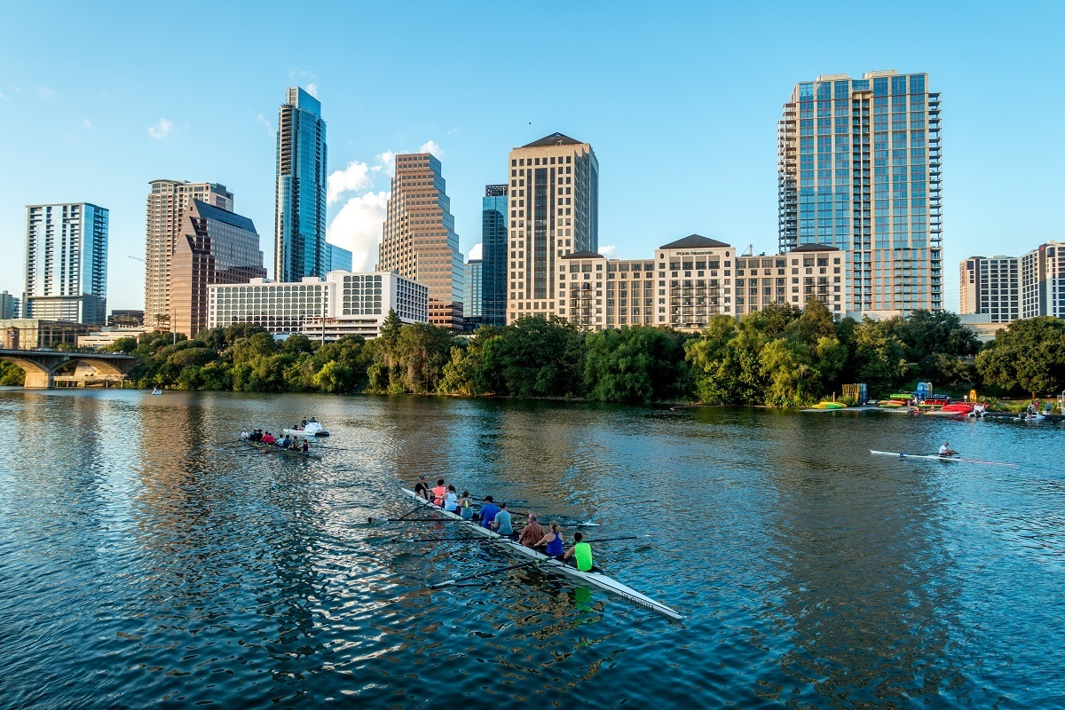 Kayakers on a lake in Austin Texas