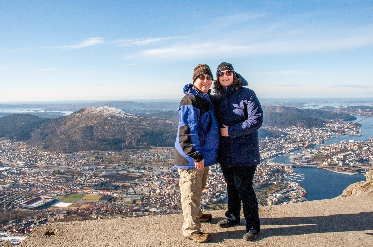 Lance and Laura on Ulriken in Bergen, Norway