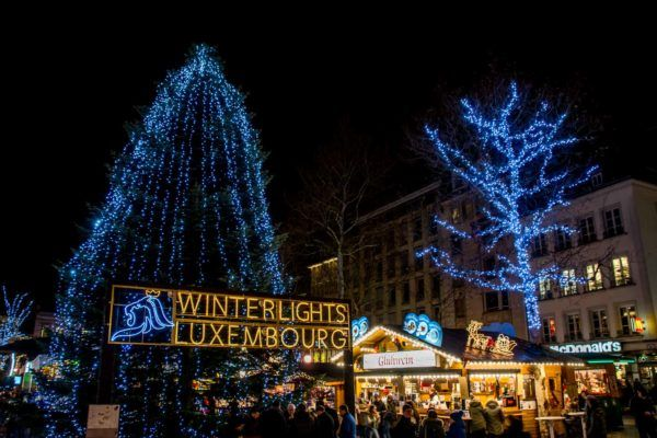 The Luxembourg Christmas markets are decked out with lights for the holiday season