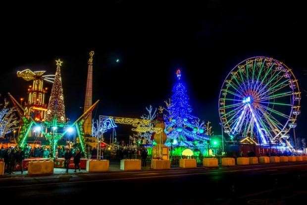 Carnival rides and Christmas lights at the Christmas market Luxembourg City