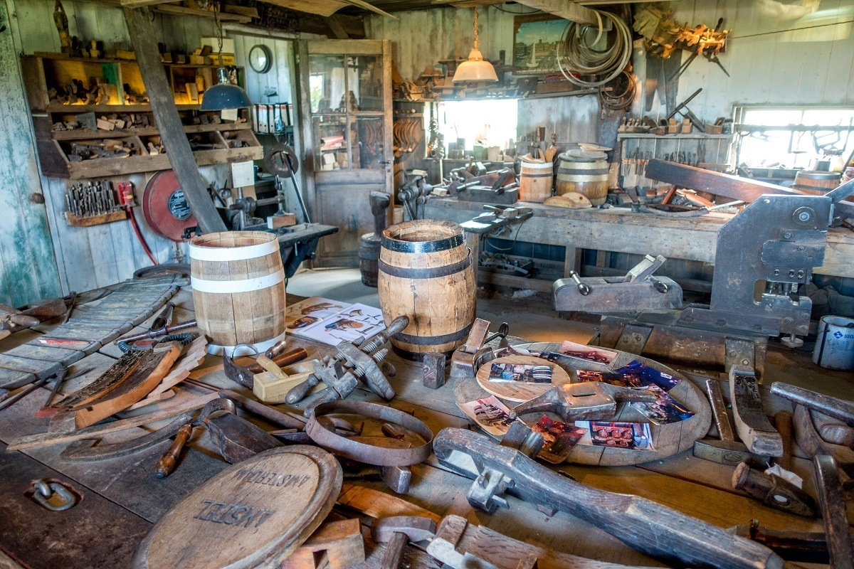 Barrel-making tools at the cooperage