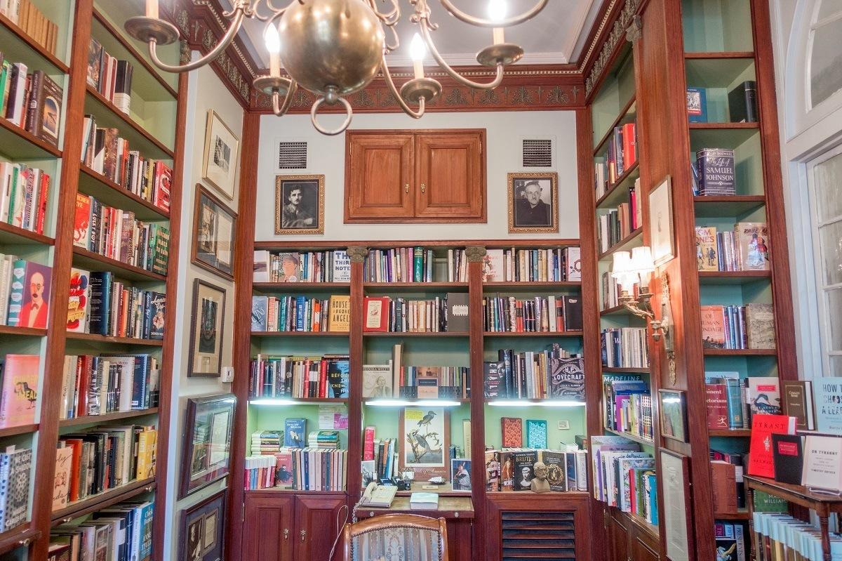 Book-lined walls inside Faulkner House Books