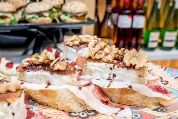 Goat cheese, jamon (ham), and walnuts on slices of bread -- some of the best pinchos San Sebastian are simple and delicious