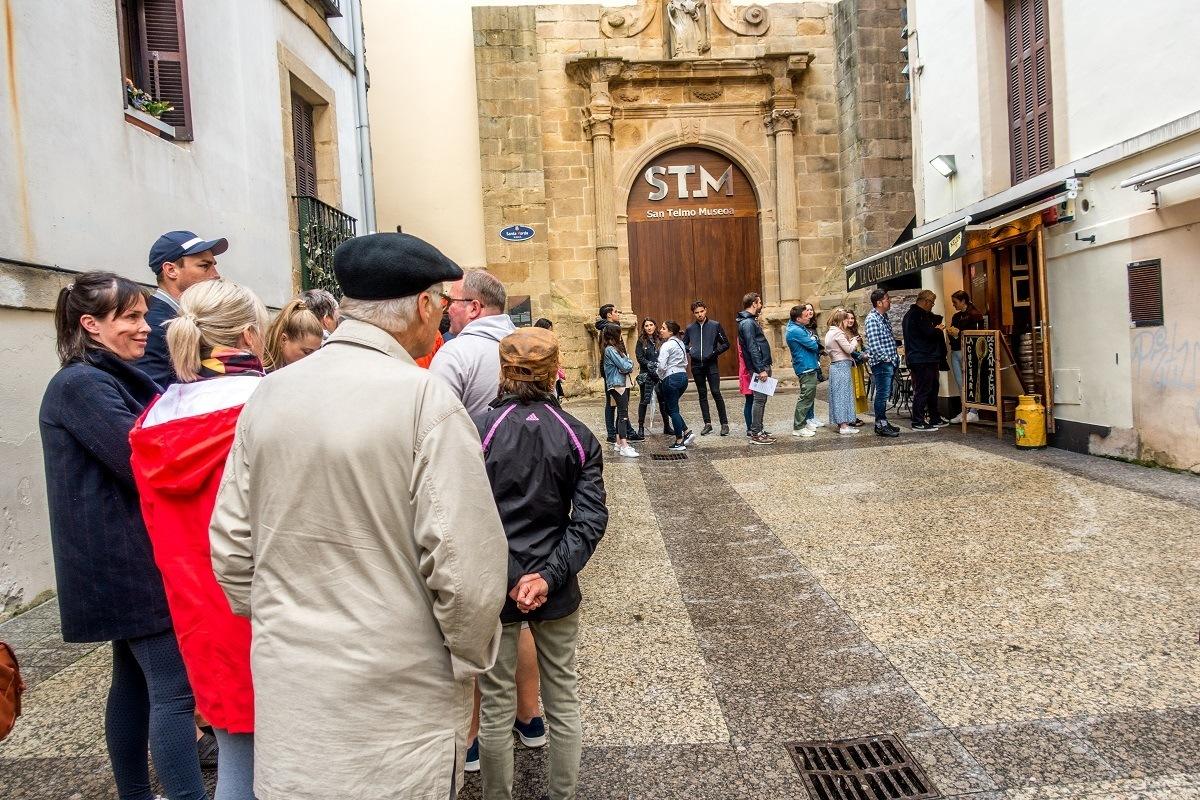 The line at one of the besst pintxos bars in San Sebastian -- La Cuchara de San Telmo