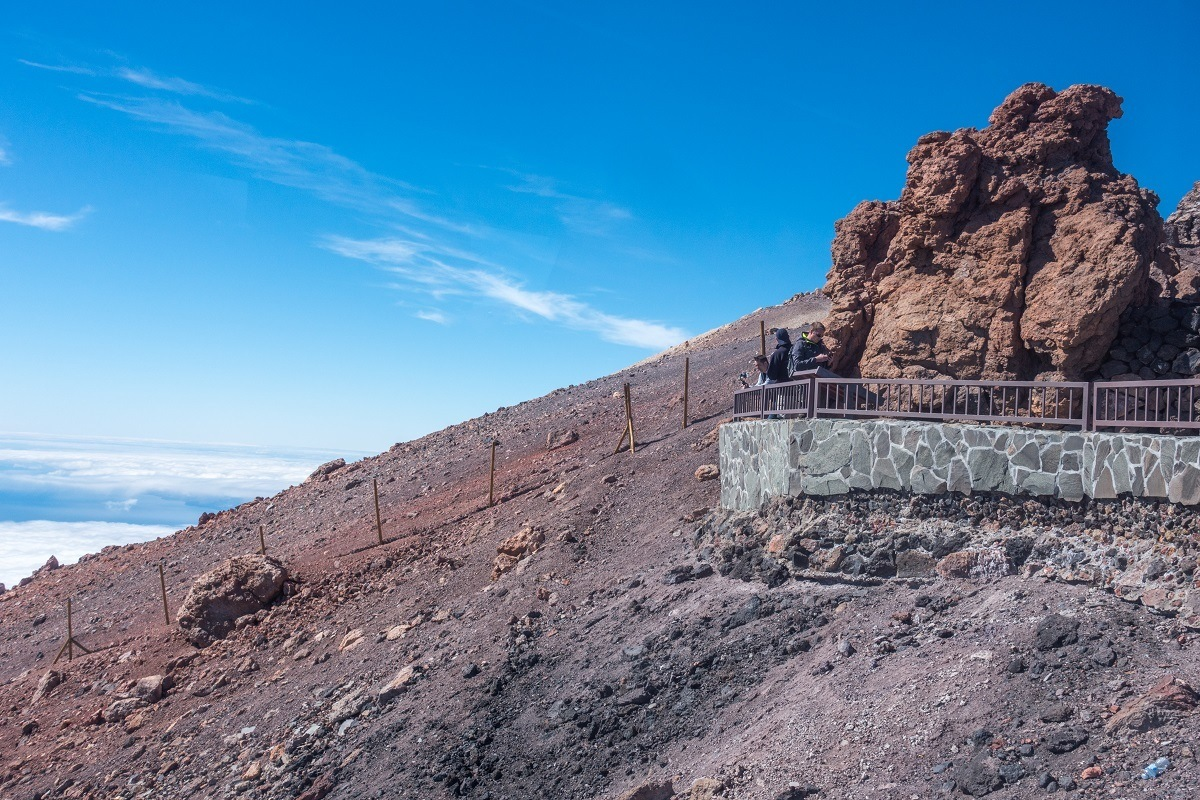 Scenic lookout at the upper cable car station on Mt Teide in Spain.