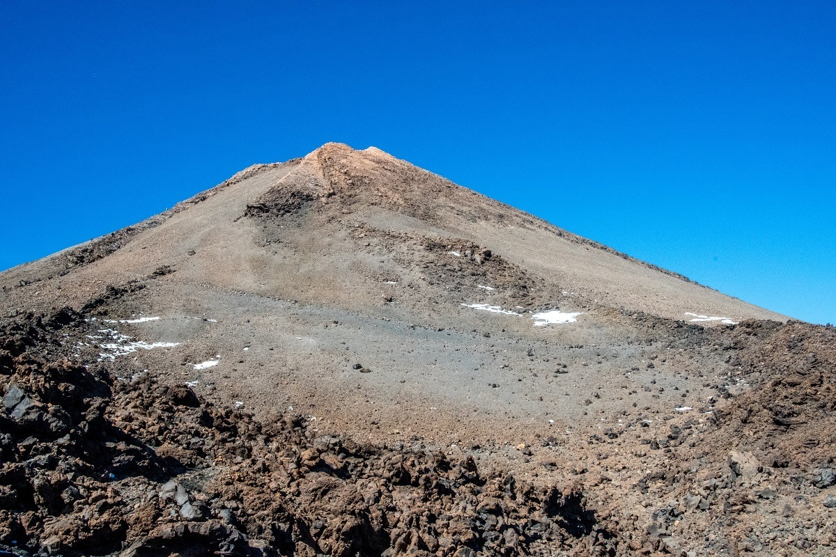 The view of the summit while you are climbing El Teide Tenerife.  Serious hikers, trekkers, and mountaineers hike Teide from sea level.