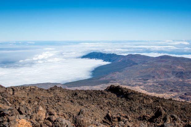 Spain volcano photos:  The Altavista Refuge on Teide has great views of Northern Tenerife, which is frequently covered in clouds.