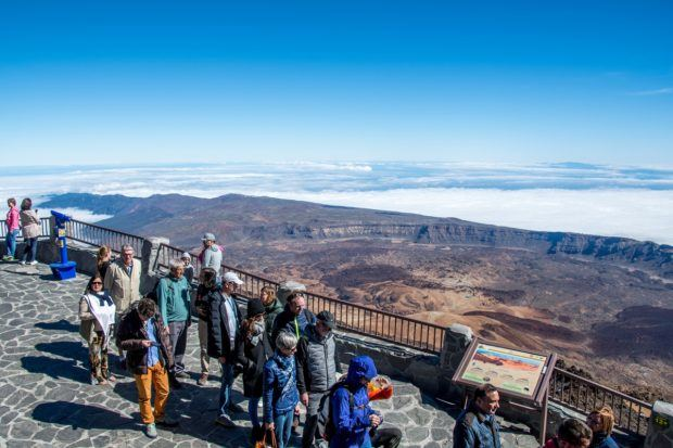 There can be long lines at the Teide upper station as people wait for the cable car back down the mountain.