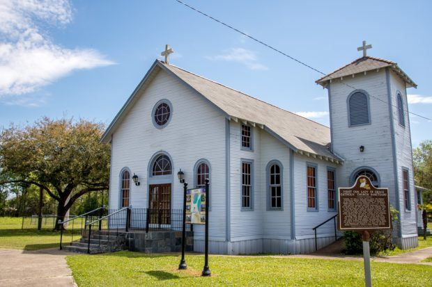 Exterior of Our Lady of Grace Church, a small country church in Louisiana