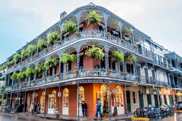 This building with the wrap-around wrought-iron balcony at the corner of Royal and Dumaine is one of the characteristic must see places in New Orleans Louisiana
