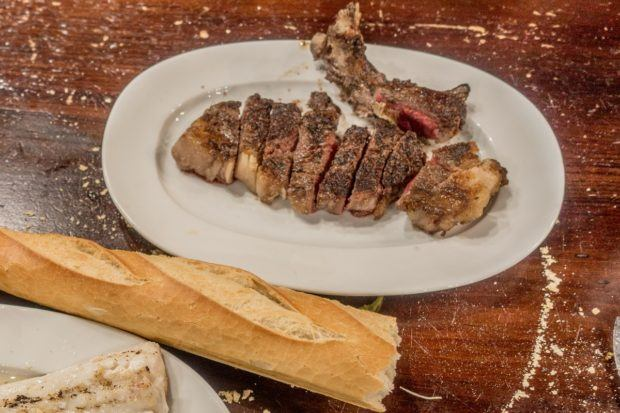 Txuleta, a bone-in steak served at San Sebastian cider houses