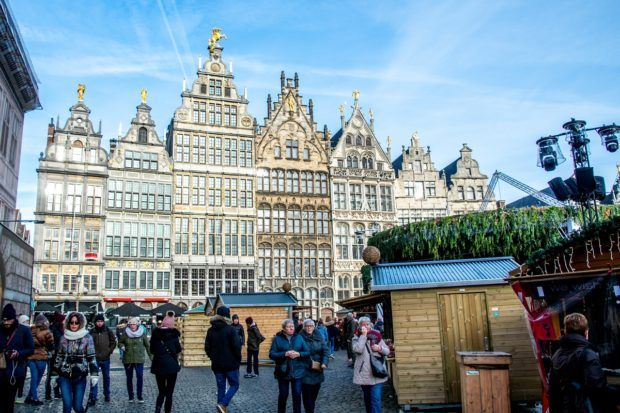 Market stalls set up at the Antwerp Christmas market in Grote Markt