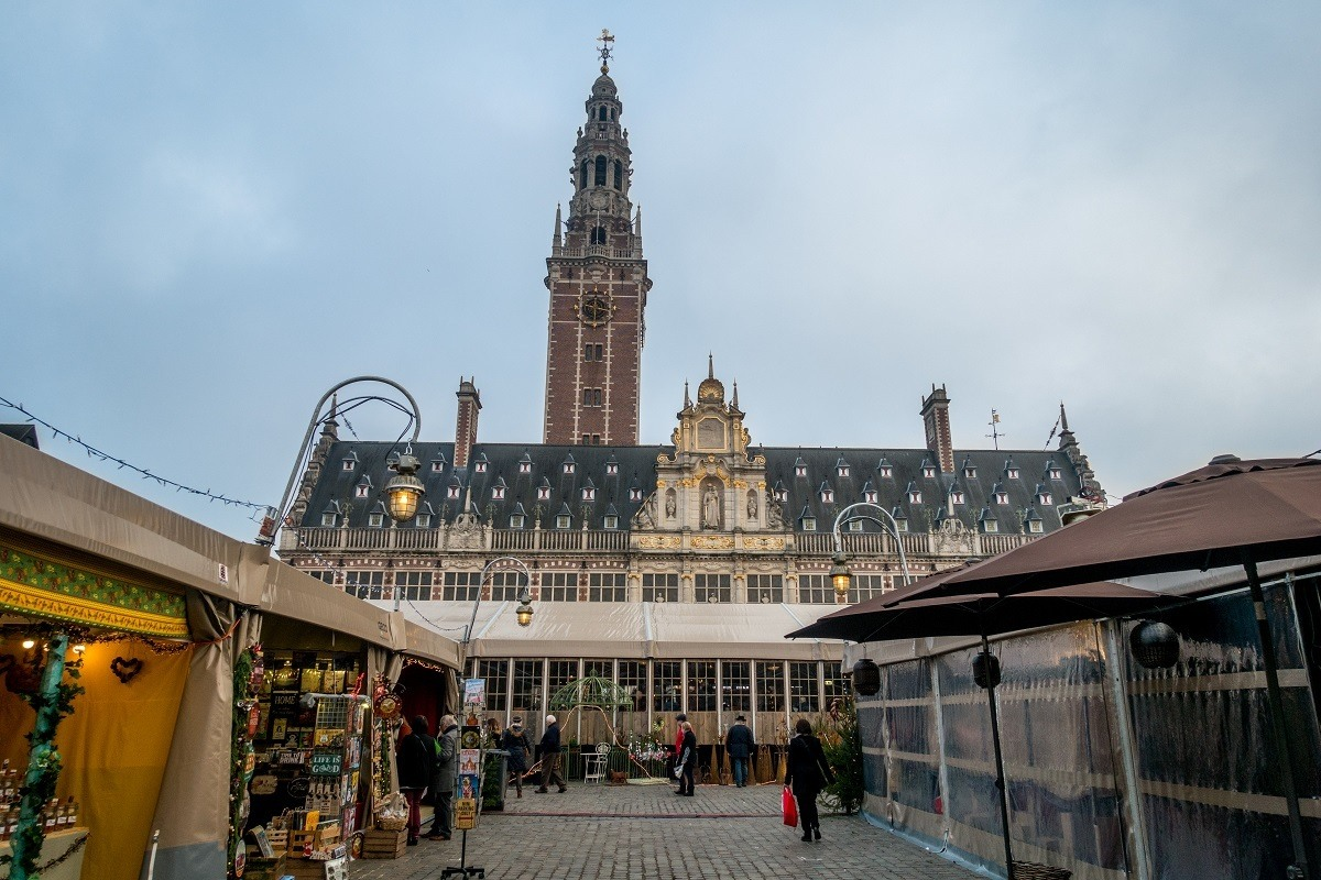 The Christmas market spreads out in front of the Catholic University of Leuven in Belgium