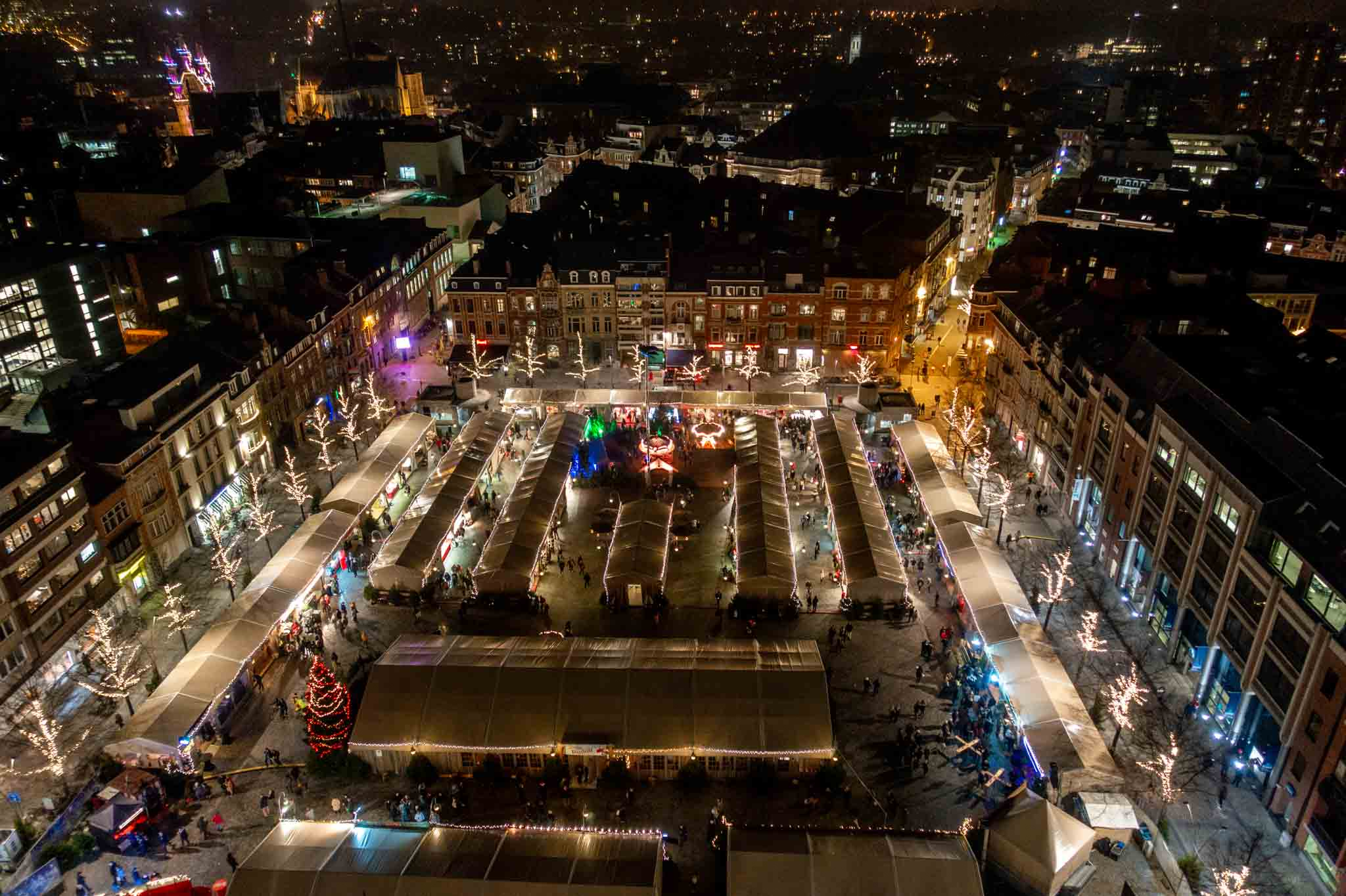 See the Levuen Christmas market from above in the library tower