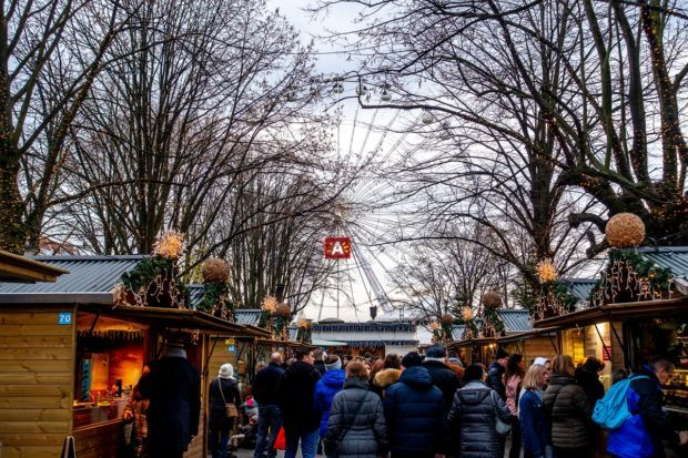 One of the best Christmas markets in Europe, stalls for the Antwerp market in Belgium line the Steenplein