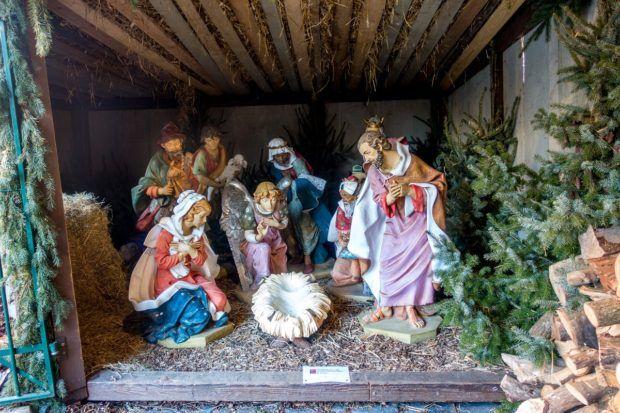 Manger scene at the Leuven Christmas market in Belgium
