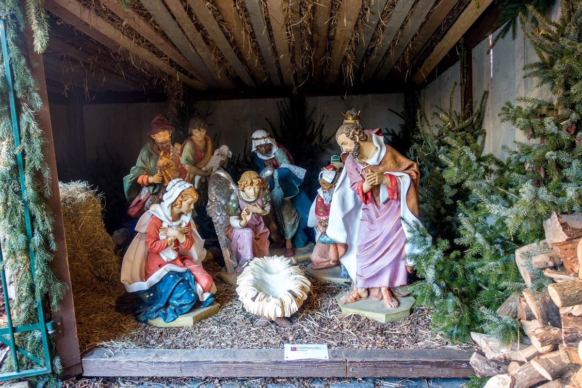 Manger scene at the Leuven Christmas market in Belgium