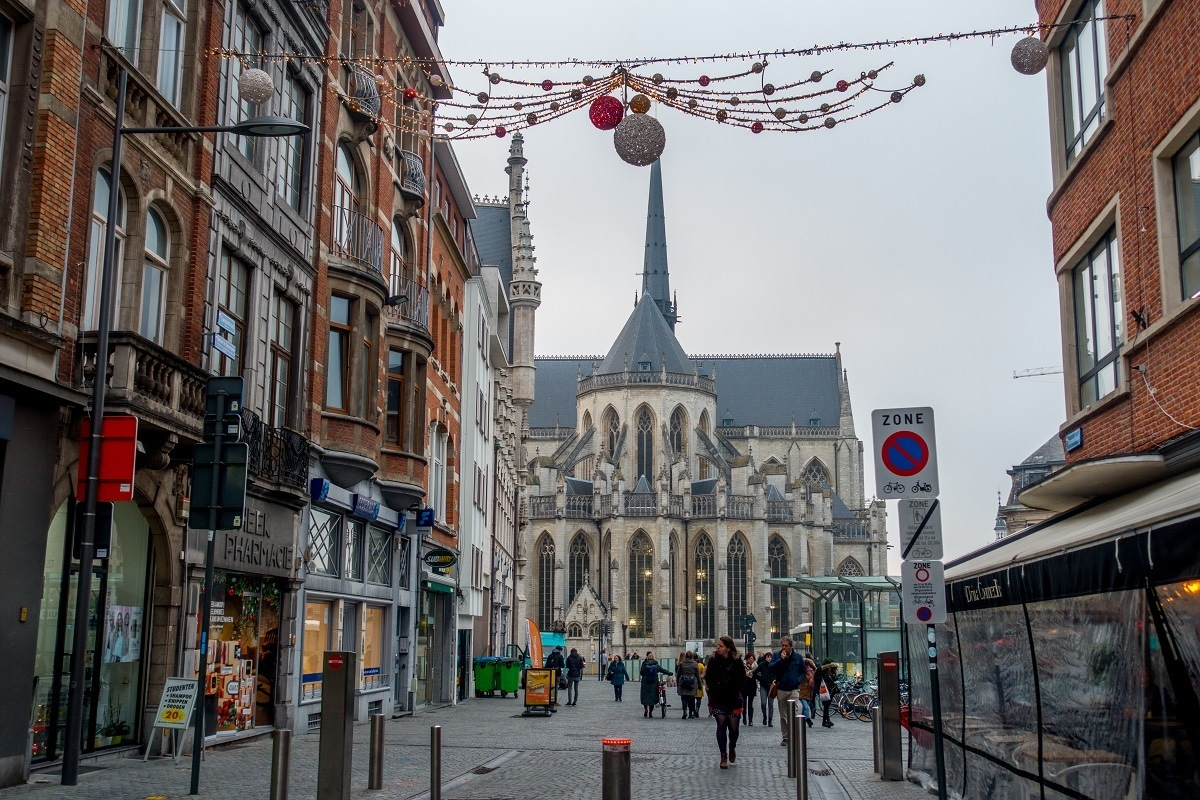Street in Leuven, Belgium, decorated for winter and the Christmas season