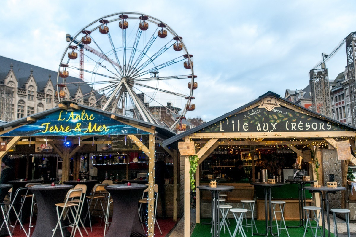 The Liege Christmas market features numerous places to eat and drink. It's a top Belgium Christmas market.