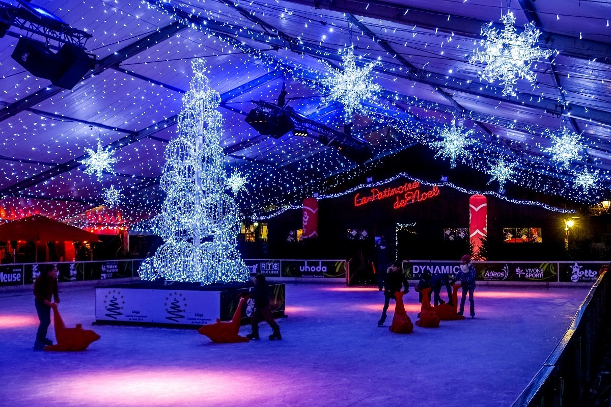 Ice skating rink at the Liege Christmas market, one of the top markets in Belgium in winter