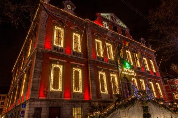 Liege, Belgium, city hall decorated for Christmas