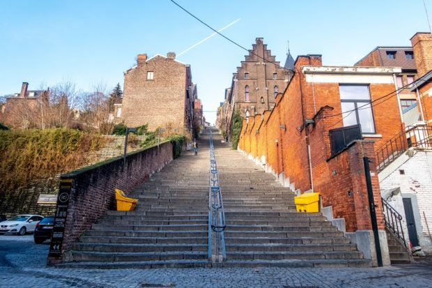 Montagne de Bueren, a 374-step staircase, in the middle of Liege, Belgium