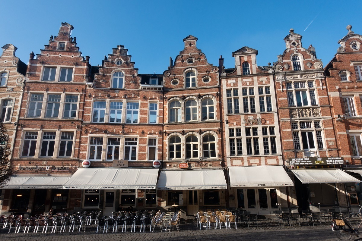 Oude Markt in Leuven, Belgium, is known as the longest bar in Europe