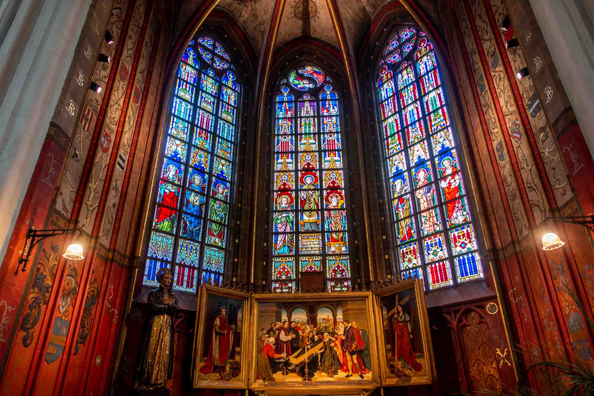 Stained glass and art in the Cathedral of Our Lady in Antwerp