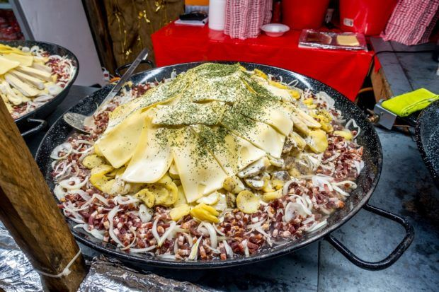 Tartiflette--a dish of potatoes, cheese, lardons, onions, and wine--is a popular thing to eat in Belgium at Christmas
