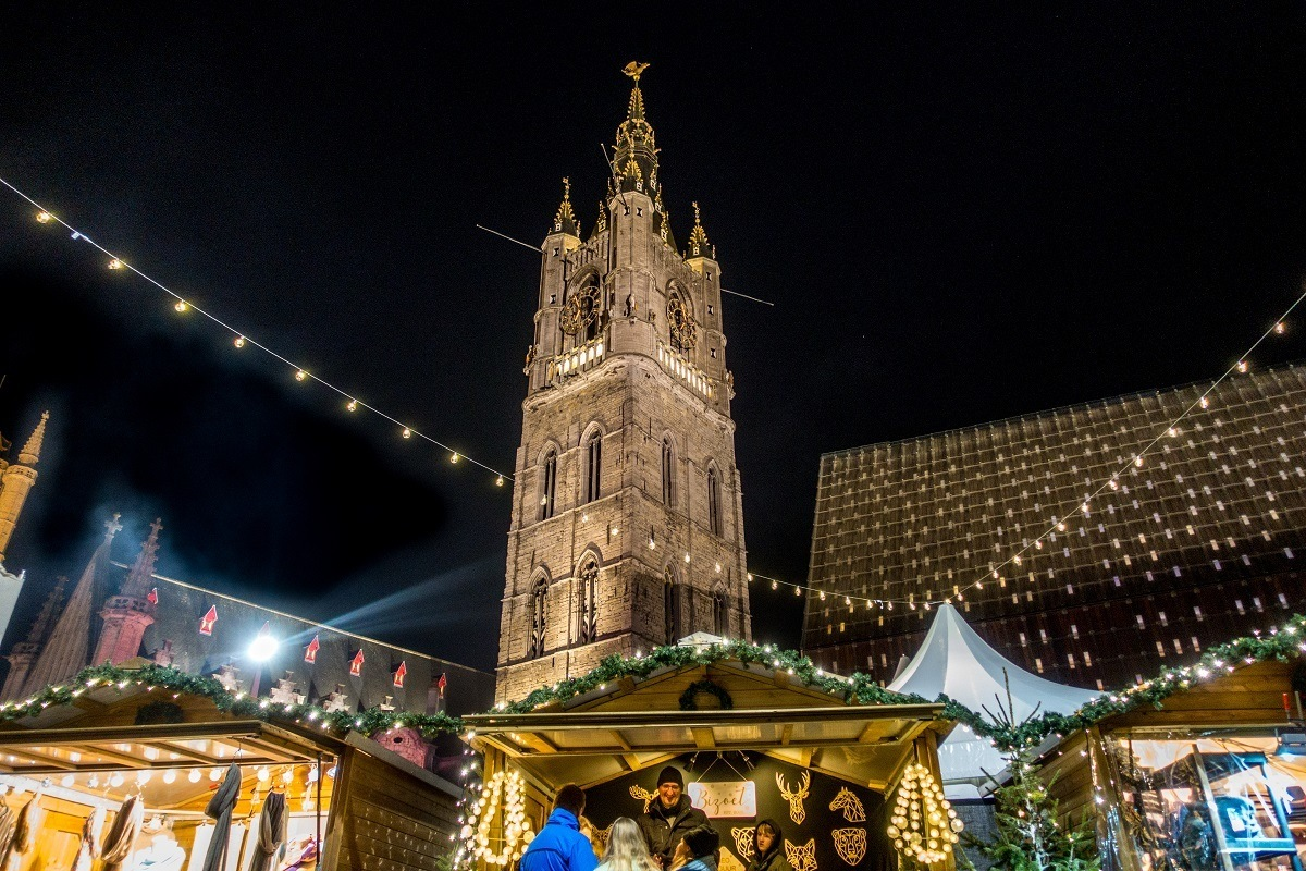 The Ghent Christmas market by the Belfort is one of the highlights of Belgium at Christmas