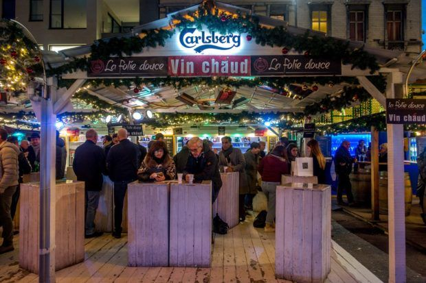 One of the mulled wine stands at the Liege market