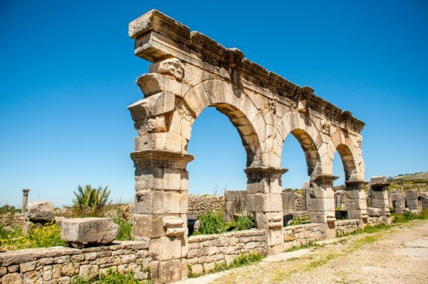 The remains of the aqueduct in Volubilis Marocco