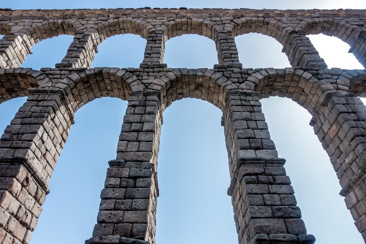 Arches of massive Roman aqueduct in Spain