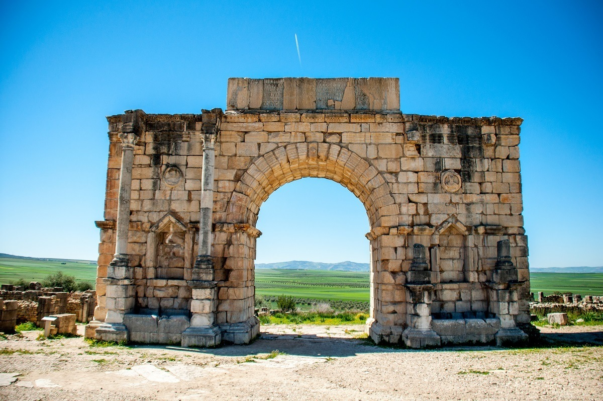 Stone triumphal arch of Volubilis (aka the Arch of Caracalla)