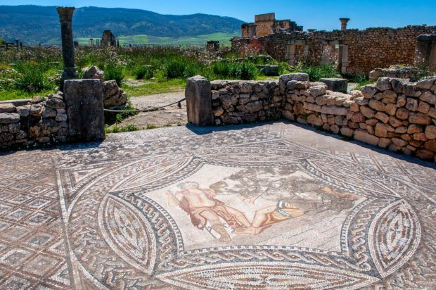 Bacchus mosaic in Volubilis, Morocco. The ruins here are one of the interesting things to see in Morocco.
