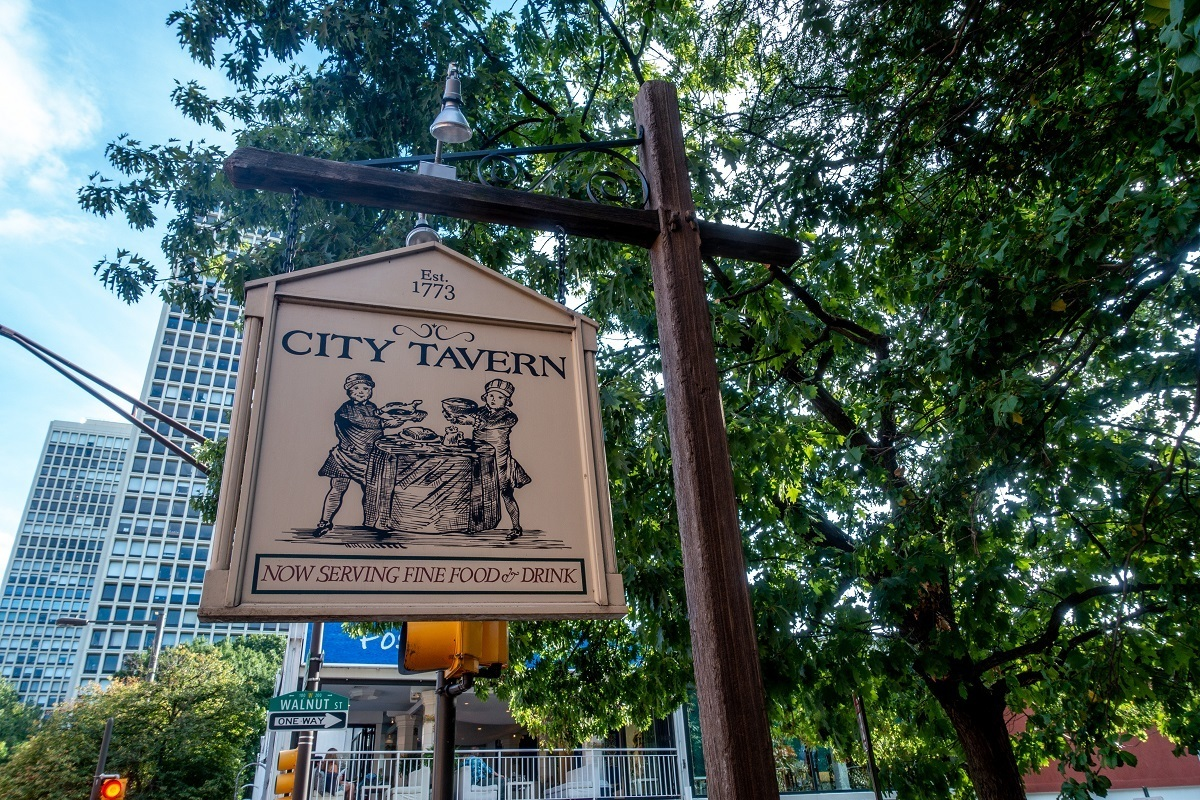 Illustration on sign for the historic City Tavern in Old City