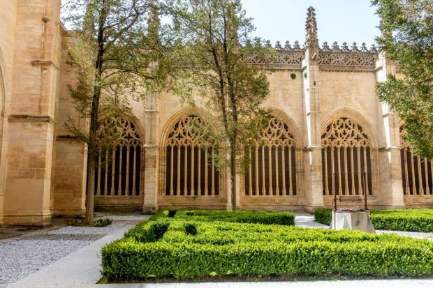 The sunny cloister at the Segovia Cathedral including arched windows and a small hedge in the center
