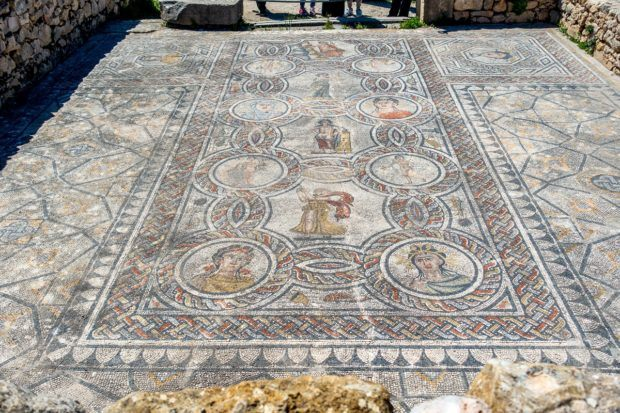 Colorful mosaic in the House of Dionysus and the Four Seasons. The mosaics of Volubilis are some of the interesting ruins of ancient Morocco.
