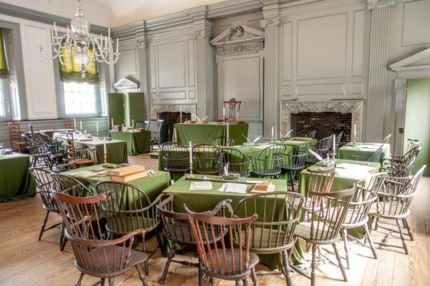 The Assembly Room in Independence Hall. The site can't be missed on your Philadelphia vacation.