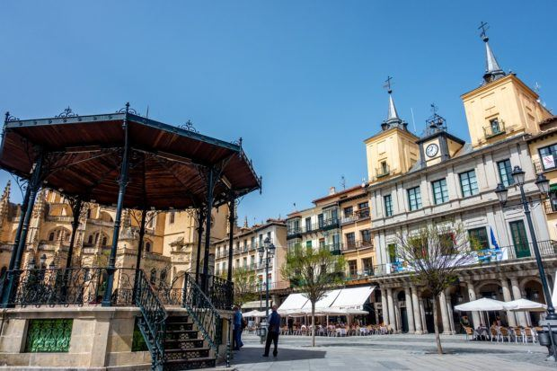 Hanging out in Plaza Mayor, the city's main square, is one of the fun things to do in Segovia Spain