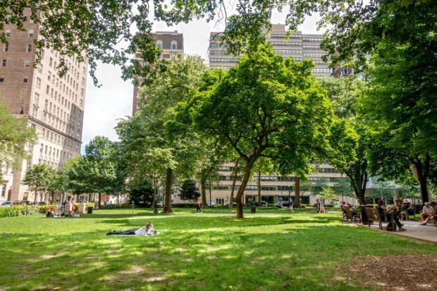 Spending some time in tree-filled Rittenhouse Square park is a highlight of sightseeing in Philly