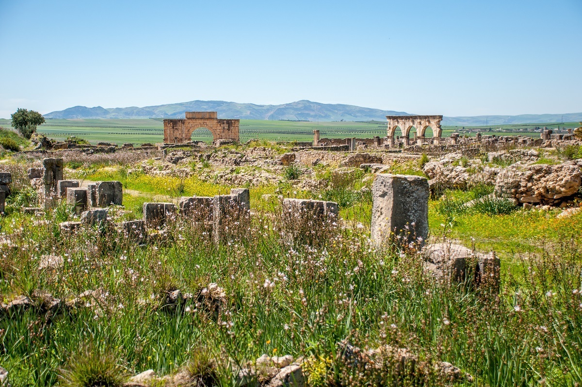 A panoramic view of the Volubilis Morocco ruins, an ancient Roman city