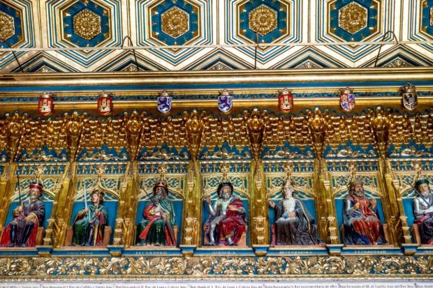 The Room of the Kings featuring the brightly-colored kings of Castile along the ceiling in the Alcazar of Segovia