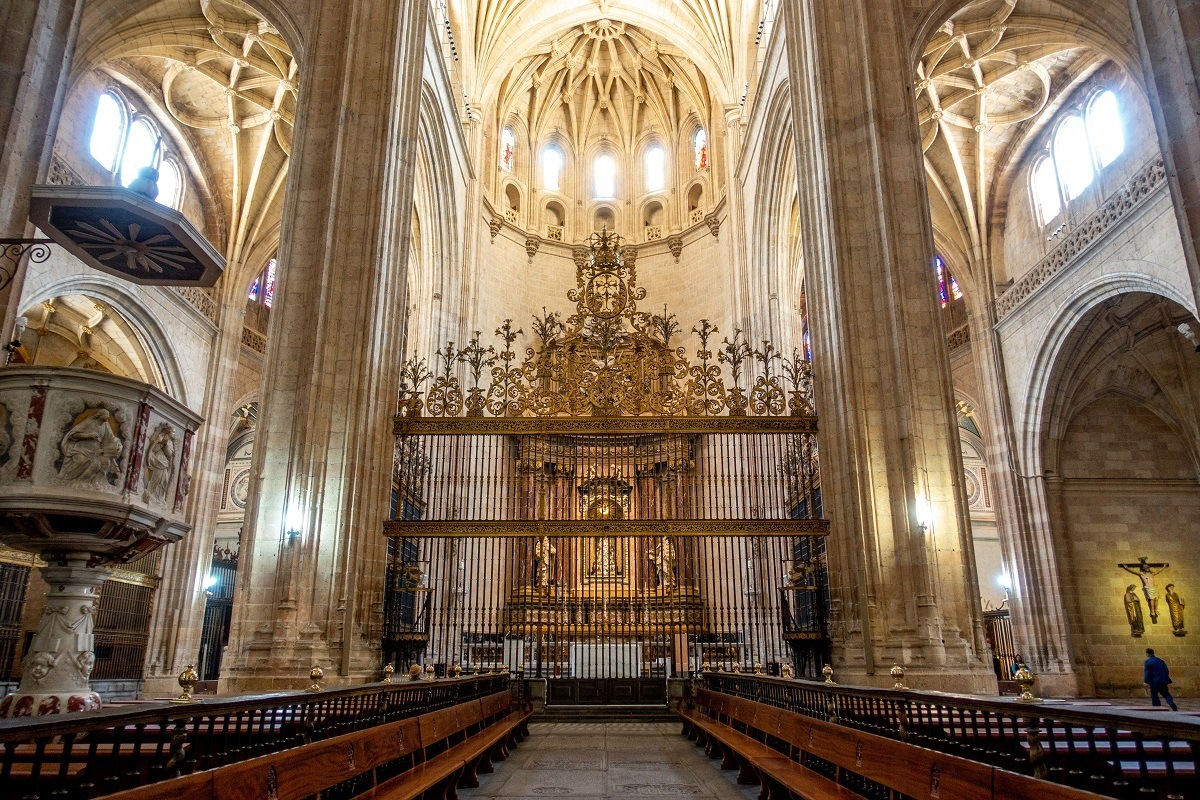 Nave of the Segovia Cathedral with vaulted ceiling and decorations