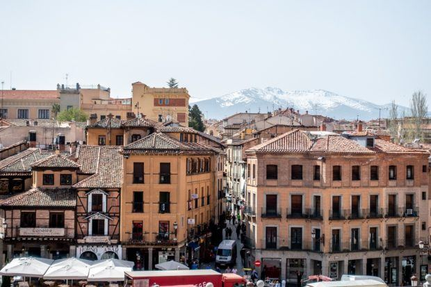 The view of Segovia, Spain, from near the top of the Roman aqueduct